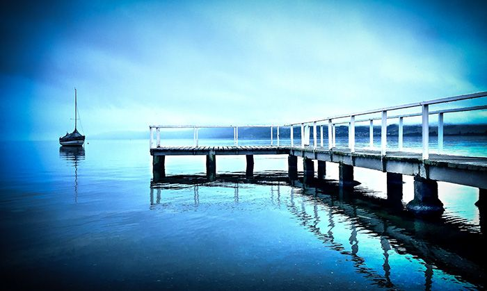 """""""THE PIER"""" (COLOUR)  LOCATION: Lake Taupo (New Zealand)  DIMENSIONS: 762mm(w) x 508mm(h) / 1016mm(w) x 610mm(h)  MICHELLE GREEN GALLERY © MICHELLE GREEN 2015"""