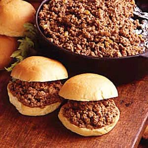 Church Supper Sloppy Joes Recipe -My family loves these sloppy joes. I would make them back when I worked in a school lunchroom and heard nothing but compliments.