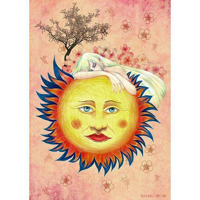 Seed of life. 생명의 씨앗. 태양이 눈뜰 때.  #illustration #drawing #painting #sun #flowers #coloredpencils #cherryblossom #일러스트 #일러스트레이션 #드로잉 #그림 #태양 #벚꽃 #꽃