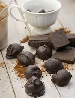 Creamy, coffee-laced chocolate balls are encased in enticing dark chocolate shells, to make irresistible Coffee Chocolate Truffles.