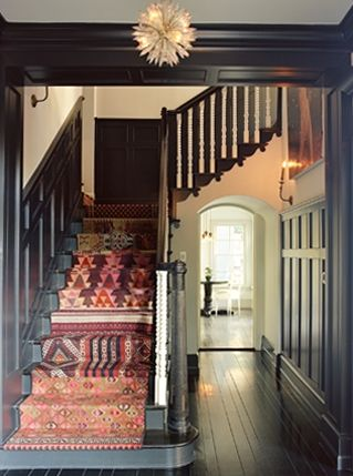 mix of carpets as a stair runner