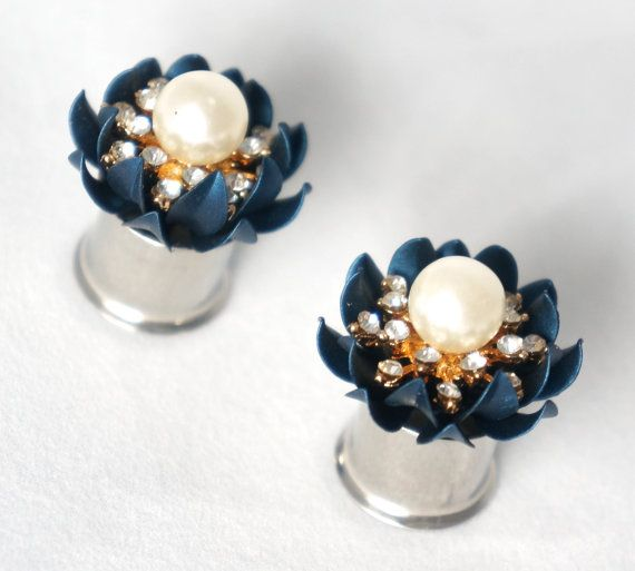 Flower Plugs Gauges 00g 000g 7/16 1/2 9/16 5/8 Navy by EdgySister