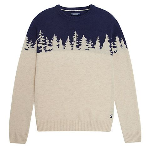 Buy Joules Woodland Jumper Knitted Jumper, Cream/Navy Online at johnlewis.com