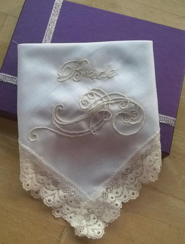 Hand embroidered bridal handkerchief handmade by Beautiful Unique