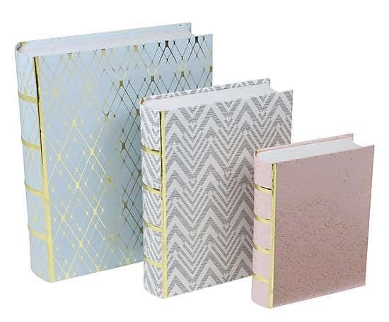 Set di 3 scatole in cartone multicolor Stockholm III, max 8x38x27 cm