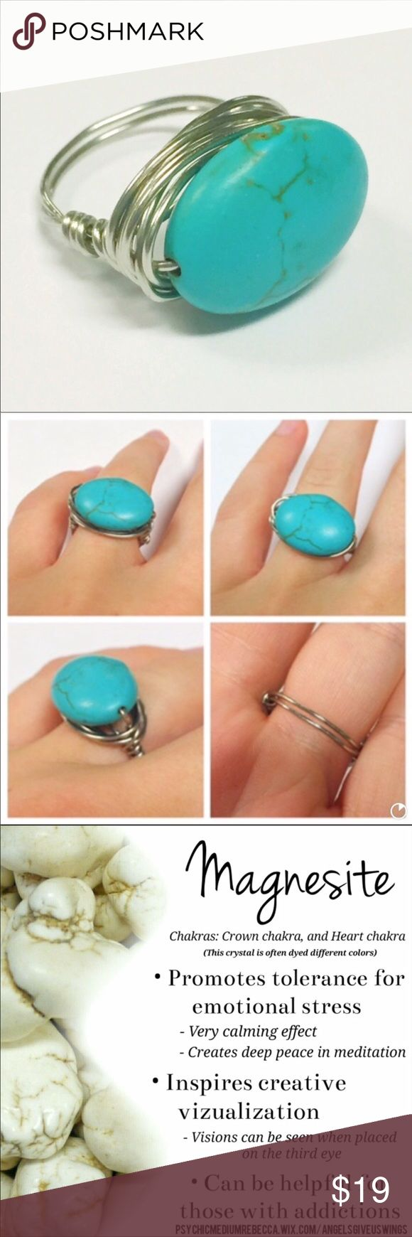 Handmade turquoise magnesite wire wrapped ring Handmade wire wrapped ring made with genuine magnesite stone. Healing properties of this stone are listed in the last picture. Beautiful statement piece! Can be made in any ring size (size 7 will be sent if not specified) Jewelry Rings