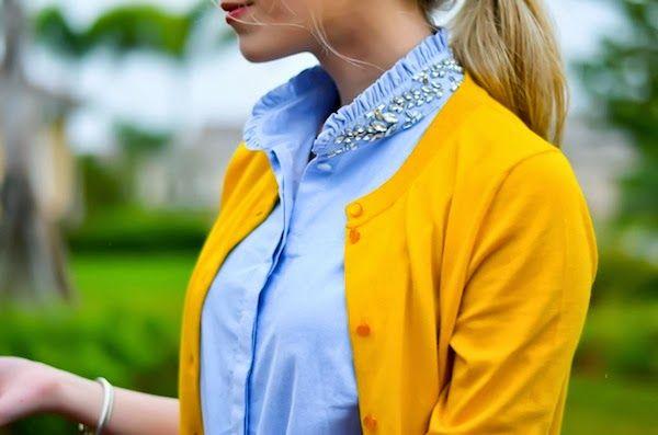 Blue Embellished ruffled collared top under Mustard cardigan