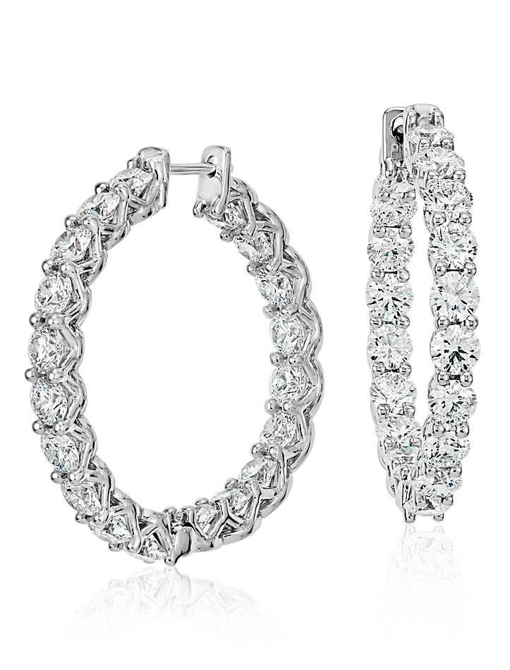 Signature Diamond Eternity Hoop Earrings in Platinum (6 ct ...