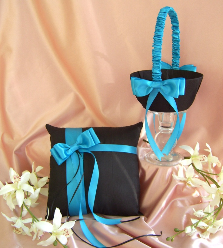 Ring Bearer Pillow and Flower Girl Basket, Black and Turquoise Wedding Colors, Ceremony Accessories. $60.00, via Etsy.