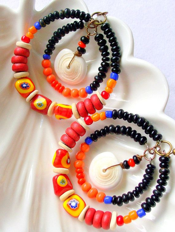 african ethinic beaded jewelry fashion | African Tribal Beaded Hoop Earrings Bohemian Jewelry Puka Shell Beach ...