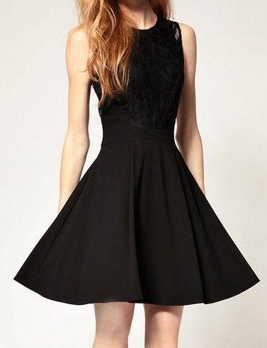 Black Sleeveless Lace Ruffles Dress $21
