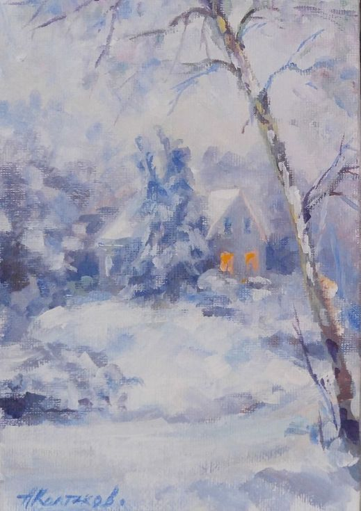"""Buy Winter miniature (5x7x0.1""""), Acrylic painting by Alexander Koltakov on Artfinder. Discover thousands of other original paintings, prints, sculptures and photography from independent artists."""