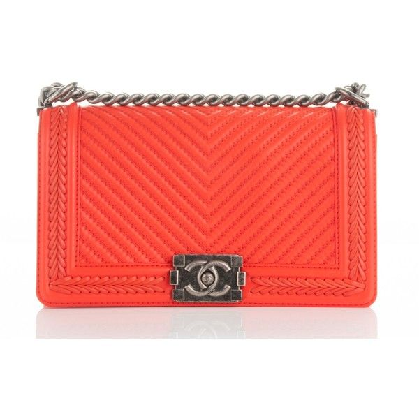 CHANEL Calfskin Braided Chevron Medium Boy Flap Orange ❤ liked on Polyvore featuring bags, handbags, shoulder bags, evening purses, shoulder handbags, chanel handbags, shoulder strap handbags and orange shoulder bag