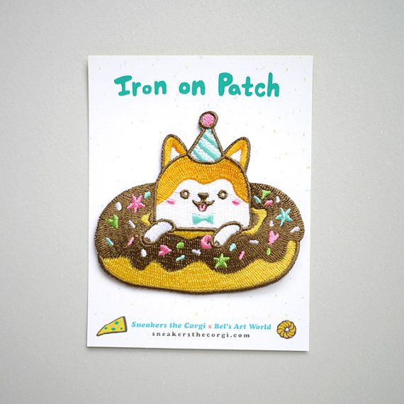 Donuts Corgi Iron on patch is a patch I designed exclusively for Sneakers the Corgi. The cutest and happiest Corgi I have ever seen!  This patch is 7 x 8 cm. It is super colourful and perfect for Donuts + Corgi + furbaby lovers.  I only have a limited number in hand so grab them fast!  * Pizza Corgi also available here: https://www.etsy.com/uk/listing/470175872/pizza-corgi-pizza-pawrty-iron-on-patch  When dispatched, the patch will be secured with cardboard.  Thanks for viewing! Back to my…