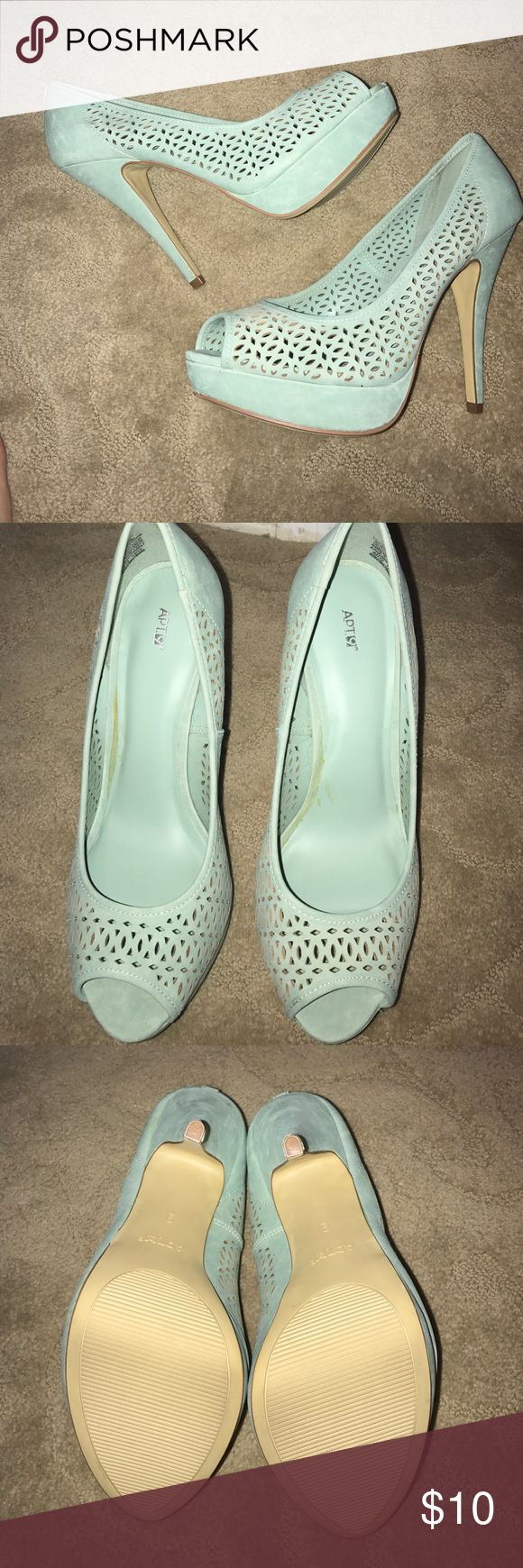 """Apt 9, Suede Aqua Heels, Size 9 Beautiful Apt 9 Suede light aqua heels.  Heel measures 5"""" with 1"""" platform in the front. Shoes Have never been worn out. Have light marks from storage. Apt. 9 Shoes Heels"""