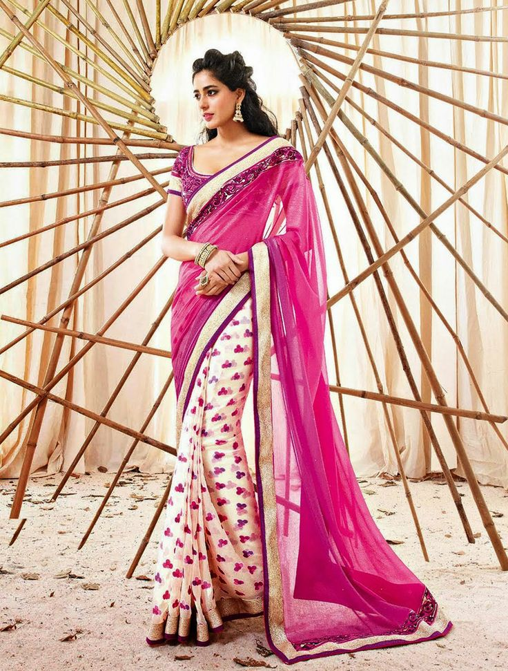 This Pretty Pink, Cream Saree With Pink Color Blouse Can Be Yours At Just Rs. 2,760. Shop Now http://goo.gl/4B5Lwy