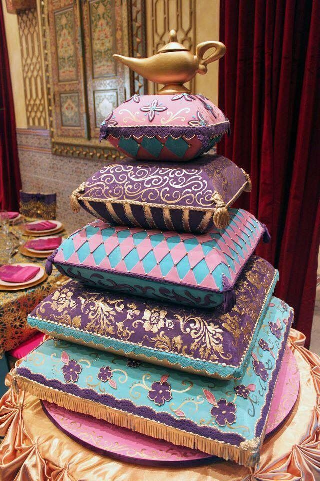 Aladdin themed cake for Indian wedding