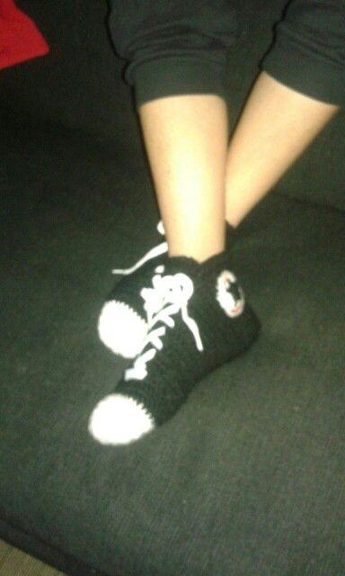 pantuflas converse a crochet