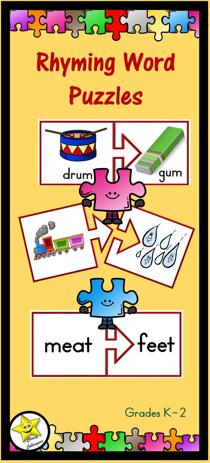 There are 123 pairs of rhyming words used in this product, and they are provided for you three ways. One set has only pictures, another has only words, and the third has both pictures and words. A word list is provided for your reference. $