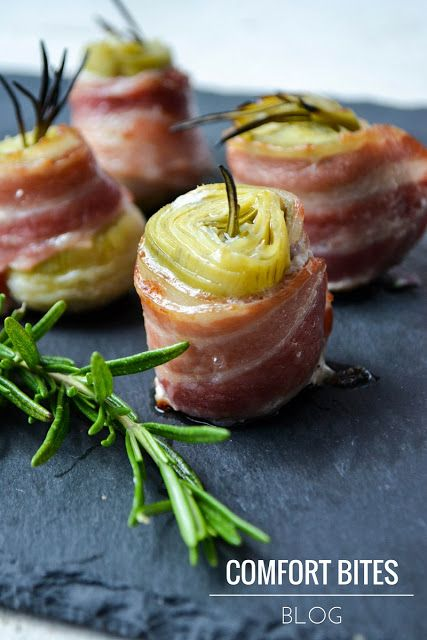 Bacon Wrapped Artichoke Hearts with Rosemary (you can substitute parsnip if you don't tolerate artichoke) / Comfort Bites
