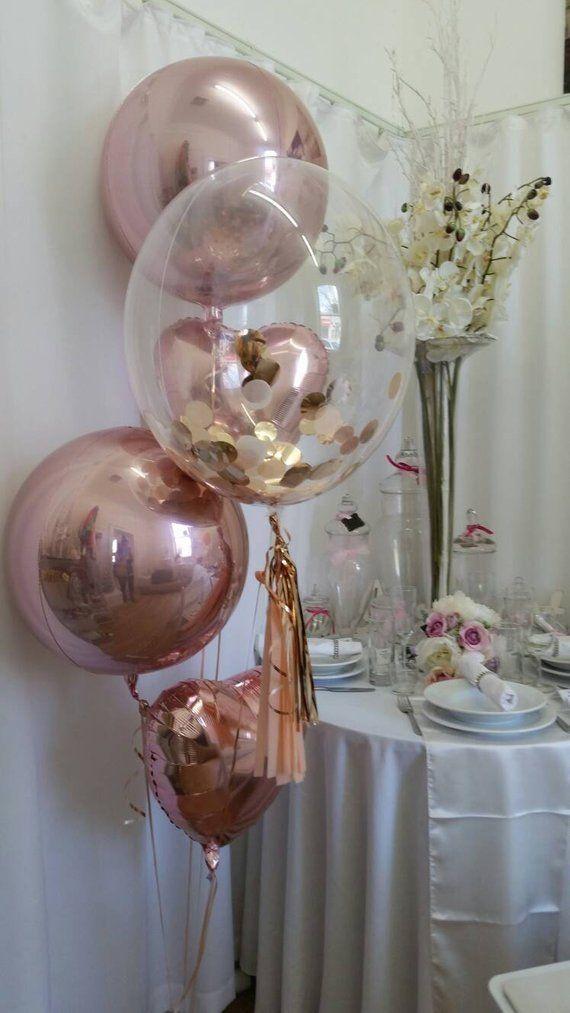 Rose Gold Confetti Clear Bubble Balloon 24 With Balloon Globos Centro De Mesa Con Globos Decoración Con Globos Cumpleaños