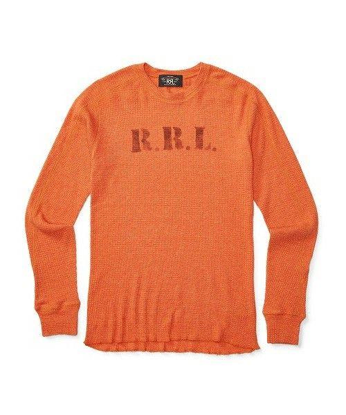 RRL(ダブル アールエル)のワッフルニット コットン クルーネック(Tシャツ/カットソー)|オレンジ系4