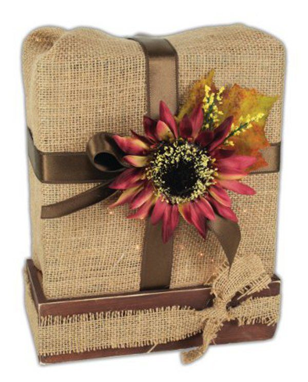 Burlap Wrapped Glass Block - i like the bow/flower but to completely cover the block in burlap?  overkill....