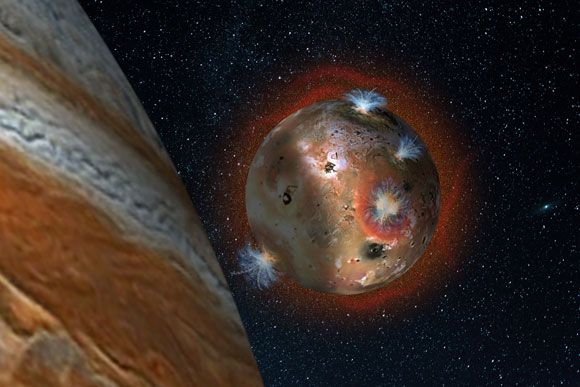 Astronomers Reveal Fluctuating Atmosphere of Jupiter's Volcanic Moon Io 8/3/16 Artist's concept of the atmospheric collapse of Jupiter's volcanic moon Io, which is eclipsed by Jupiter for two hours of each day (1.7 Earth days)