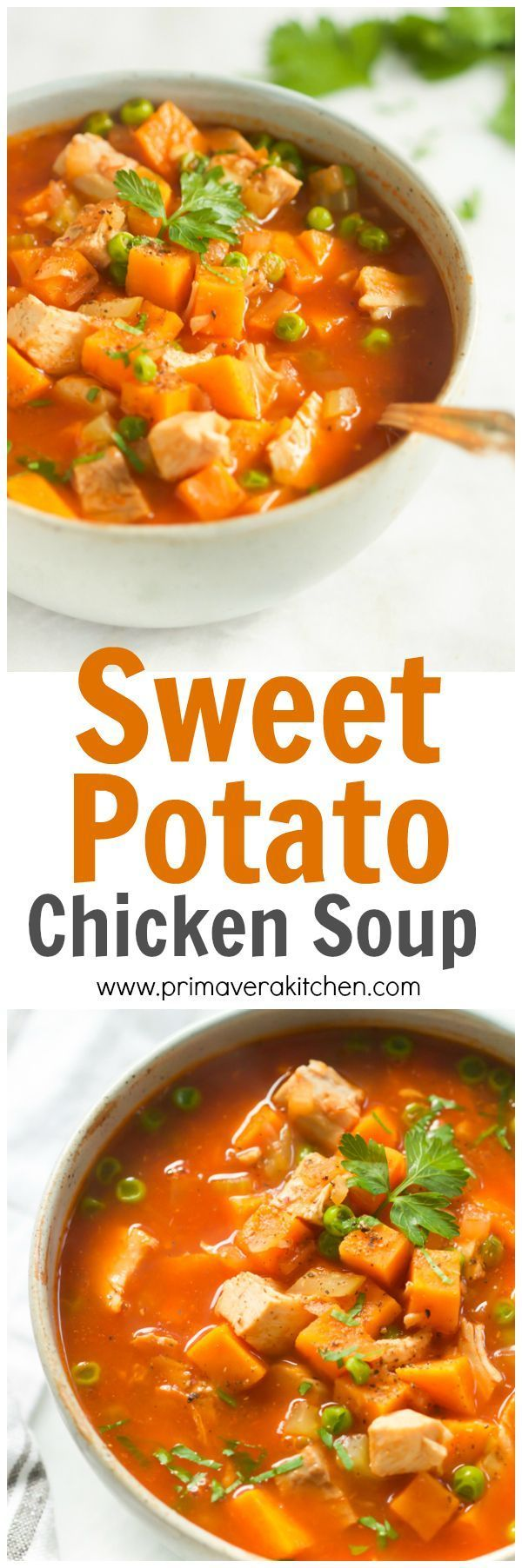 This hearty, healthy and comforting Sweet Potato Chicken Soup is made in less than 30 minutes. It's low-carb, gluten-free and paleo-friendly too. | www.primaverakitc...