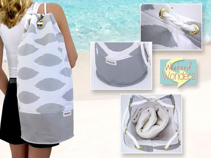 Shoulder Sling Beach Bag Free tutorial: Weekend Wonders with Fabric.com: | Sew4Home. Hundreds of sewing projects for the home.