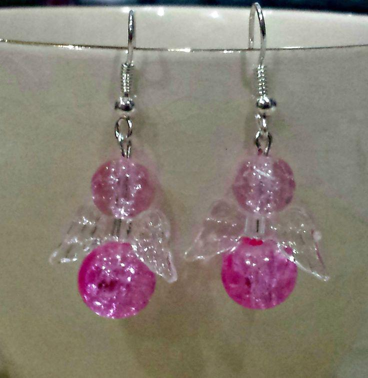 £1.49 BNWT PINK ANGEL EARRINGS WEAR IT PINK  BREAST CANCER CARE 50% DONATION DROP EARRINGS
