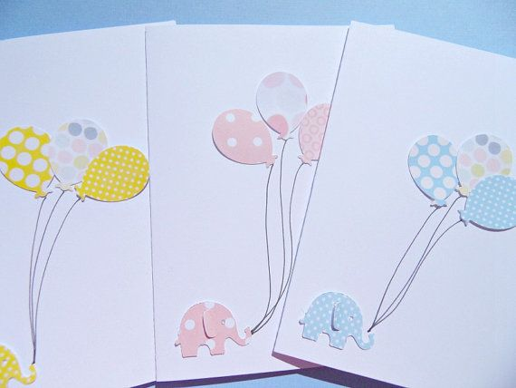 Baby Shower Cards - Baby Shower Thank You Cards - Baby Shower Invitations - Welcome Baby Cards - Birthday Cards - Balloon Cards- PBEC