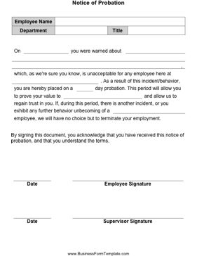 Fill in this form and have an employee sign that he she for Employment probation letter template
