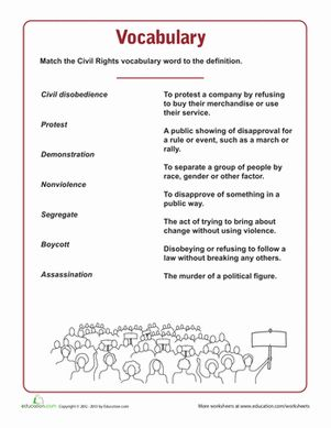 Black History Month Fifth Grade History Vocabulary Worksheets: Civil Rights Vocabulary