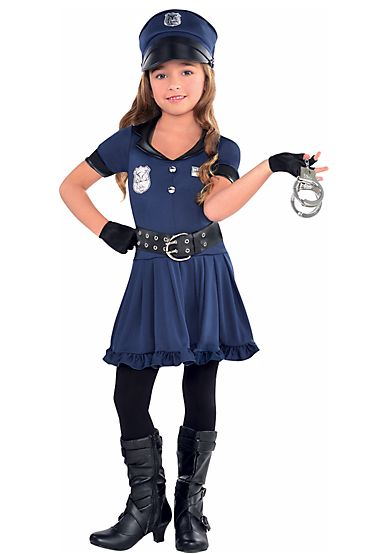 """Let's Costume Our Girls In Gender Stereotypes """"Hey Party City, - real cops don't wear low cut tops, - short skirts or fishnets"""" Party City at Center of Controversy Over Halloween Kids' Costumes"""