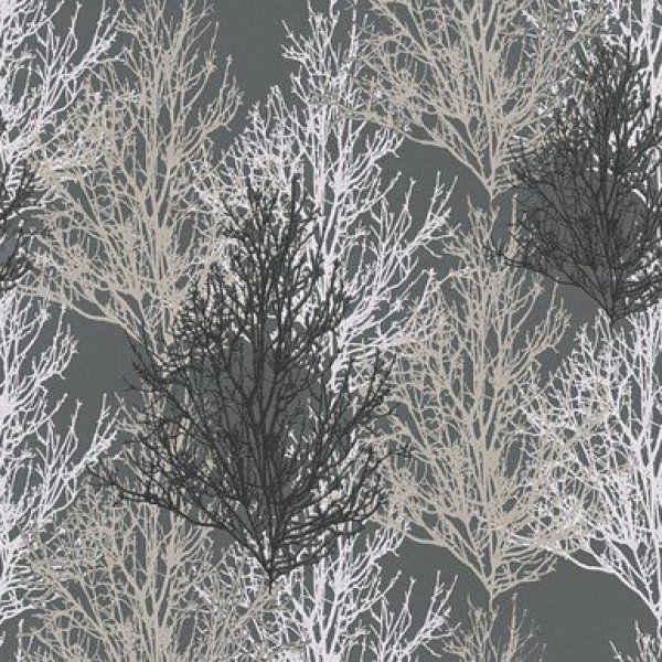Glitter Forest Tree Wallpaper Grey/Silver | A. S. Creation Wallpaper | Decorating Centre Online - Decorating Centre Online