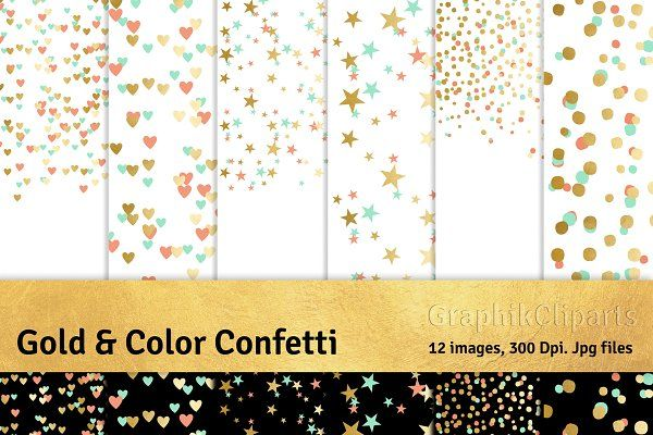 Gold Color Confetti Png Included Hellip Rose Gold Glitter Confetti Glitter Confetti Gold Digital Paper