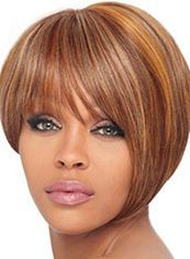 Dainty Short Straight Blonde Full Bang African American Wigs for Women 10 Inch