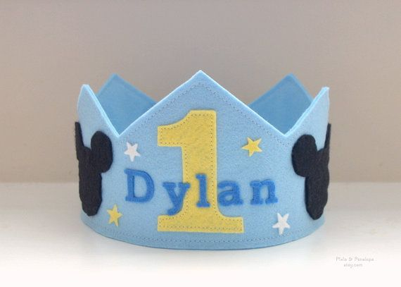 Baby Mickey inspired Felt Crown Birthday Crown by pixieandpenelope