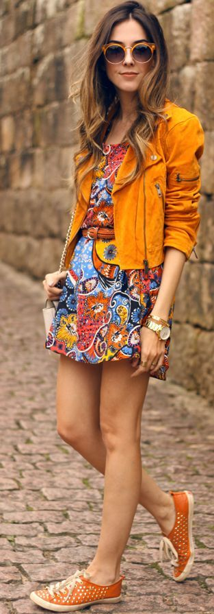 Studded Tangerine Sneakers Little Paisley Dress Tangerine Suede Biker Jacket Fall Street Style Inspo by Fashion Coolture