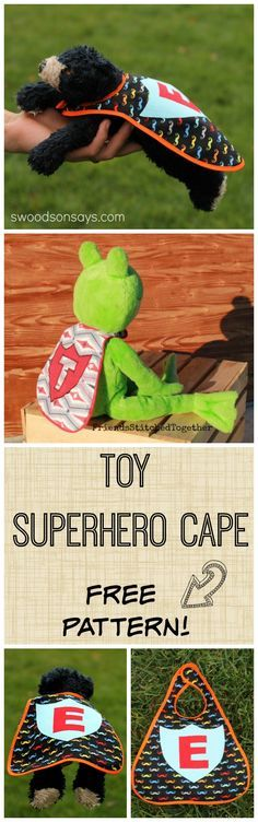 FREE toy superhero cape PDF pattern for the absolute beginner. Perfect stocking stuffer & scrap buster!   Real pictures, a full alphabet forwards & backwards for stenciling or Wonder Under transfer, and digital pattern. Swoodsonsays.com