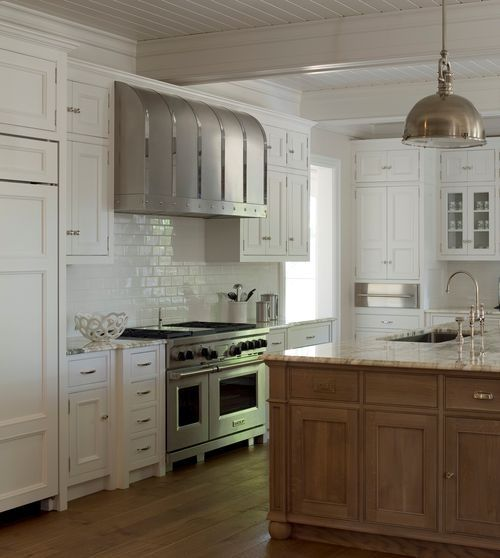 Floor To Ceiling Kitchen Cabinets: Classic White Cabinets And Subway Tile Backsplash Are