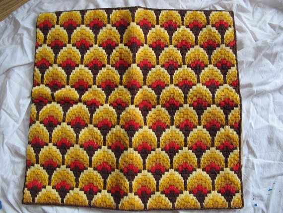 Gold brown hand made Bargello pillow cover / Handmade