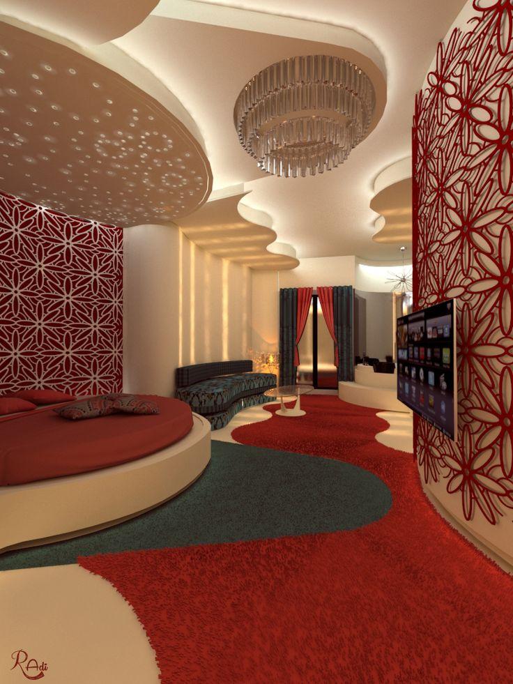 Hotel room design 3dmax v-ray render  blue & red  #3dmax #vray #render #hotel #room #interiordesign