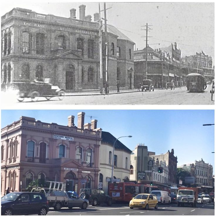 Bank of Australasia, King Street, Newtown c1912 and 2015. [c1912-Sydney City Archives>2015-Curt Flood. By Curt Flood]