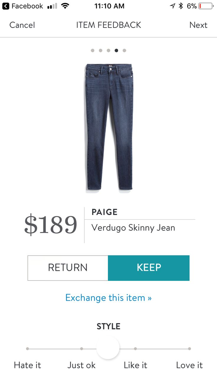 Fall and winter 2017 stitch fix. Paige denim jeans.