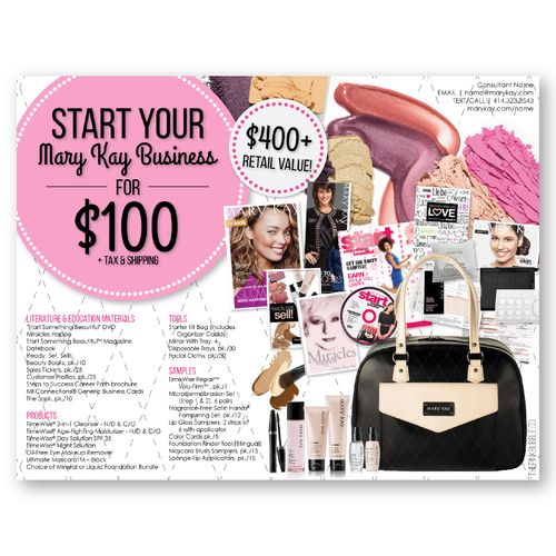 Mary Kay Starter Kit Flier!! Customizable contact information & updated Starter Kit Contents! Share with all your potential team members! Find it only at www.thepinkbubble.co!!