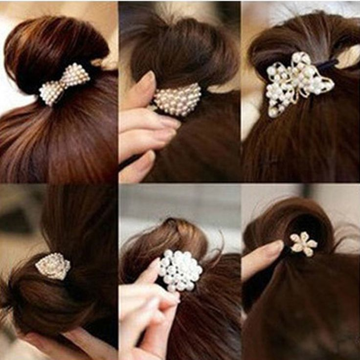 Star coréenne Perle Bandes de Cheveux Cristal Strass Fleur De Queue De Cheval Titulaire Cheveux Corde