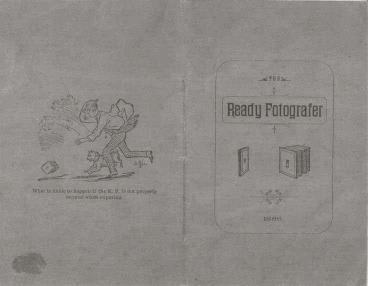 Front and back cover of the manual for the Ready Fotografer, Ready Fotografer Company, 1886.