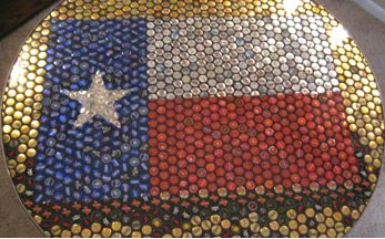 Texas flag bottle top table...I plan on making Jason one of these with AB beer bottle tops for his office :)